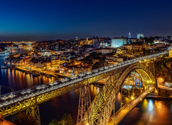 Porto bei Nacht – Ponte Dom Luis I