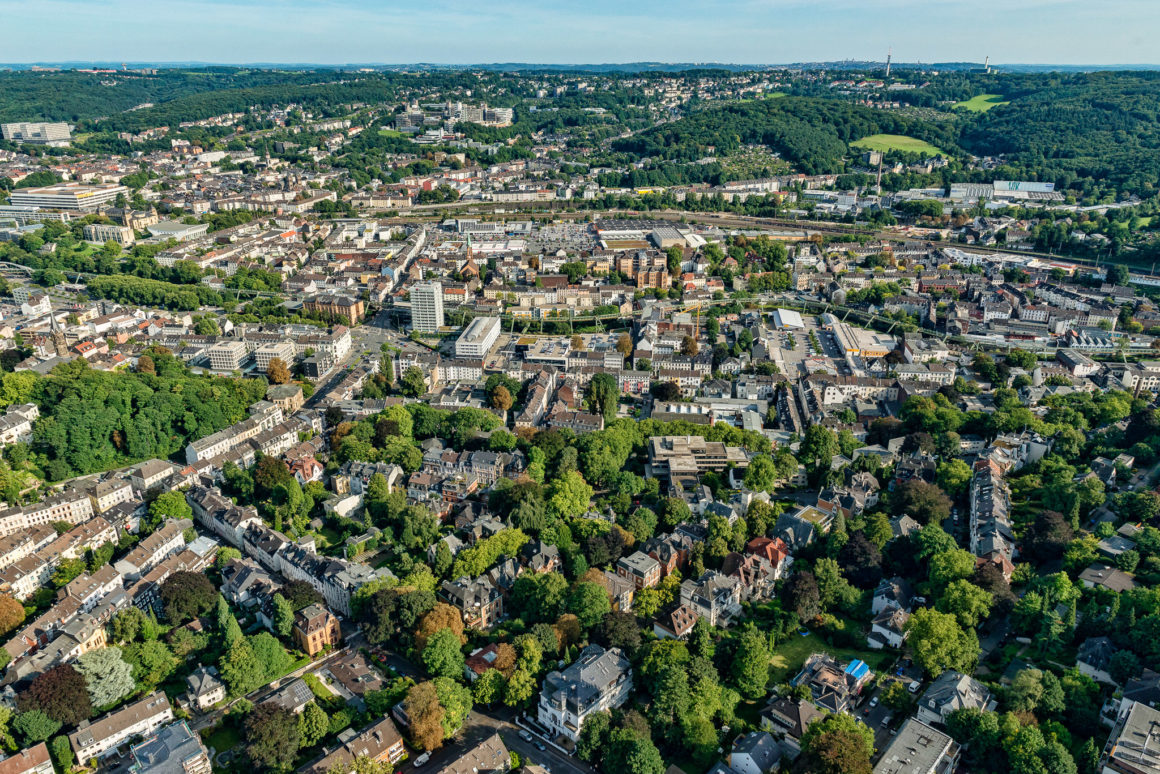 Wuppertal Luftaufnahme Blick auf die Südhöhen